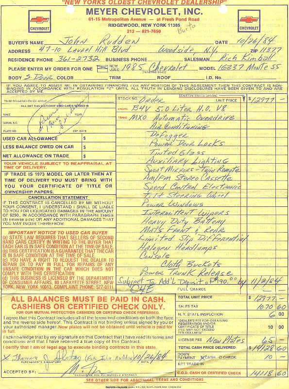 1985 monte carlo ss bill of sale