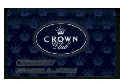 Blue. White lettering. Crown Club