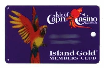 Blue card. Island Gold members club. Red parrot